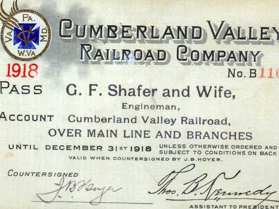 Railroad pass signed by T.B. Kennedy Jr., assistant