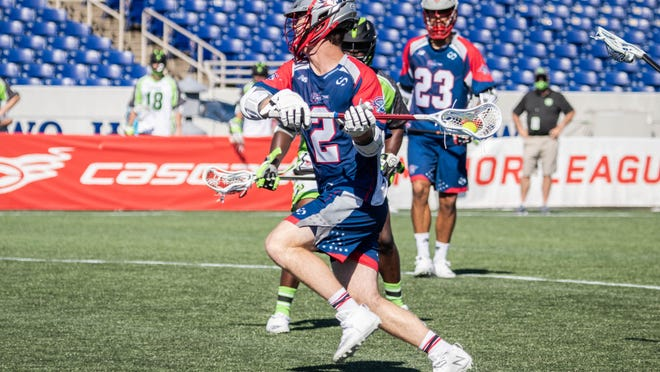 Bryce Wasserman of the Boston Cannons winds up for a shot against the New York Lizards in Annapolis, Maryland on Saturday, July 18, 2020.