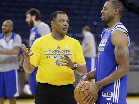 Golden State Warriors assistant coach Alvin Gentry, left, works with Andre Iguodala during NBA basketball practice, Friday, June 5, 2015, in Oakland, Calif. The Golden State Warriors host the Cleveland Cavaliers in Game 2 of the NBA Finals on Sunday. (AP Photo/Ben Margot)