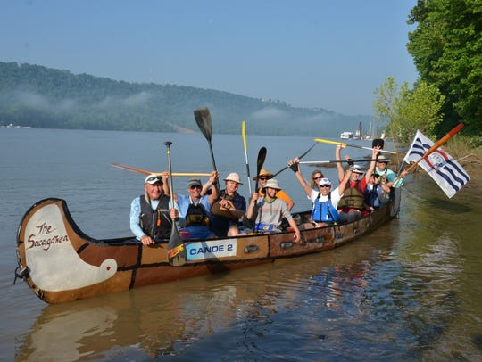 Paddles up! This group of paddlers traveled from Cincinnati