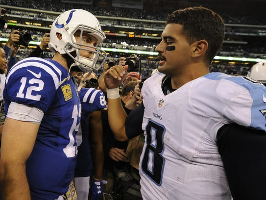 Colts quarterback Andrew Luck (12) is congratulated