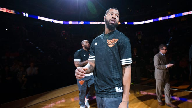 Suns forward Markieff Morris is introduced before playing the Sacramento Kings in preseason NBA action at Talking Stick Resort Arena in Phoenix October 6, 2015.