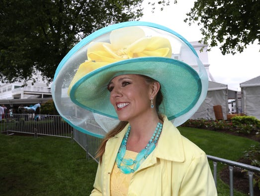 Jodie Nicholes wears a tailor-made Derby hat on Derby
