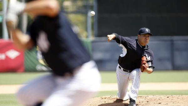 Masahiro Tanaka pitches in an intrasquad game Monday at George M. Steinbrenner Field in Tampa, Florida.