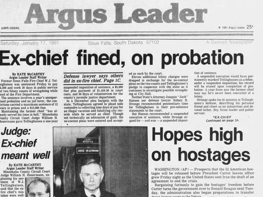 Argus Leader front page, Jan. 17, 1981.