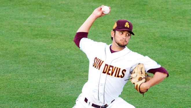 ASU starting pitcher, Seth Martinez, fires a pitch in the second inning during a game against UNLV on April 15, 2014 in Tempe.