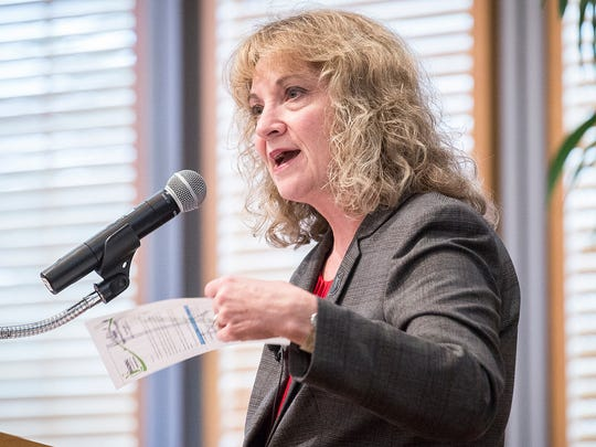 State Superintendent Glenda Ritz talks about teacher retention and other issues during a joint event that also included candidate Jennifer McCormick at the Ball State Alumni Center Tuesday evening.