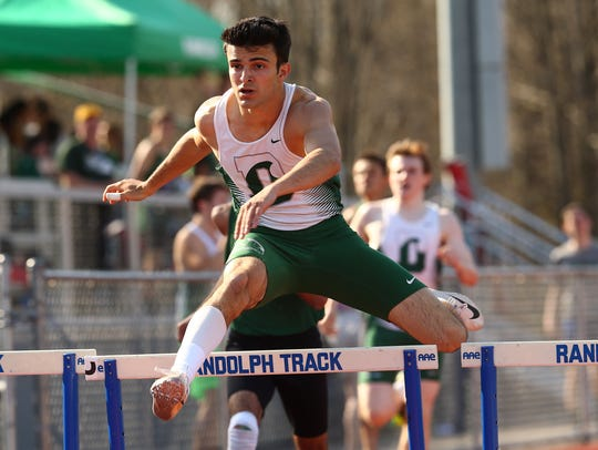 Delbarton's Paul Spada clears the final hurdle during