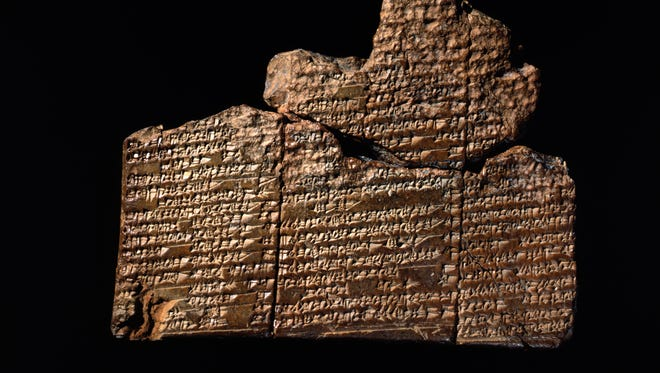 An ancient clay tablet in Sumerian cuneiform from the site of Nippur in Mesopotamia (now in Iraq), circa 1650 B.C., contains the earliest version of the Mesopotamian flood story.  A version of this tale becomes incorporated into the Epic of Gilgamesh, and tells of a flood that destroyed humankind — the story closely parallels the biblical story of Noah.