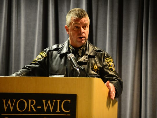"""Wicomico Sheriff Mike Lewis speaks during the """"Bennett"""