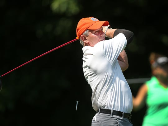 Mike Downey plays in the pro-am for the Symetra Tour's Danielle Downey Classic at Brook-Lea Country Club. Mike spent many hours at Brook-Lea practicing and playing golf with Danielle.