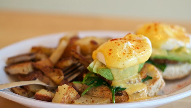 One of the breakfast items includes a California eggs benedict.