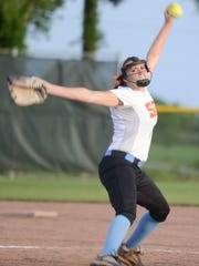 South Gibson's Kaitlyn Martin pitches against McNairy
