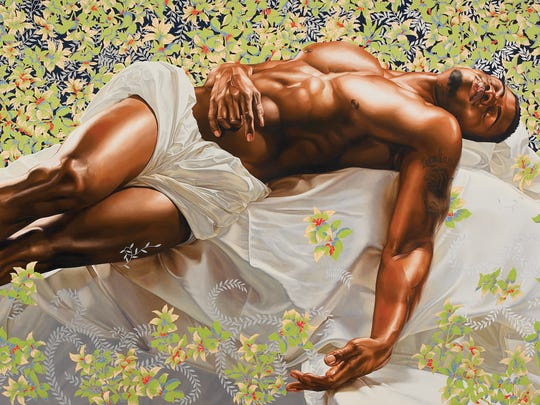 """Sleep,"" by Kehinde Wiley, 2008, oil on canvas. Courtesy of Rubell Family Collection, Miami"