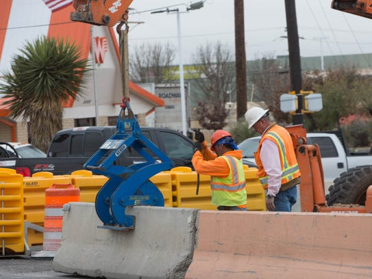Construction crews changed the flow of traffic on Main