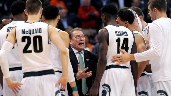 Michigan State Head coach Tom Izzo talks to his team during a first round NCAA Tournament game between second-seeded Michigan State and 15-seeded Middle Tennessee Friday, March 18, 2016 at the Scottrade Center in St. Louis. Middle Tennessee upset the Spartans 90-81.