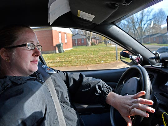 Springfield Police Corporal Martha Moore drives through