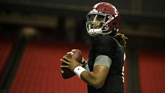 Alabama quarterback Jalen Hurts was the SEC's offensive player of the year as a freshman, but he struggled passing in the postseason.