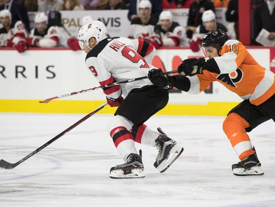New Jersey Devils left wing Taylor Hall (9) skates