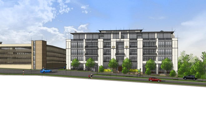 A rendering of Brookside Terrace, a new condo development in Birmingham that will overlook the Rouge River. To the south of the project is the North Old Woodward Parking Structure.