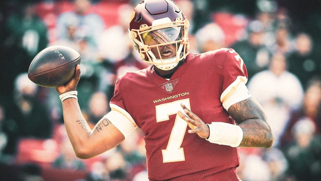 Quarterback Dwayne Haskins seen in the new jersey and helmet players for the Washington Football Team will wear in 2020-21.