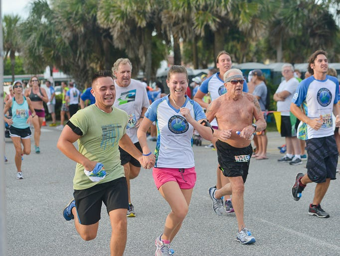 Runners in the Turtle Krawl 5K in Indialantic, which