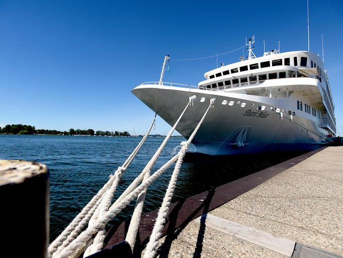The Pearl Mist, a Great Lakes cruise ship, is docked