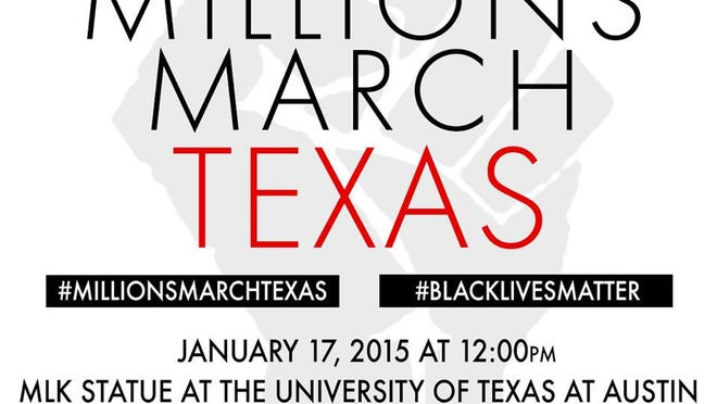 Flyer of the upcoming march hosted on The University of Texas at Austin's campus.
