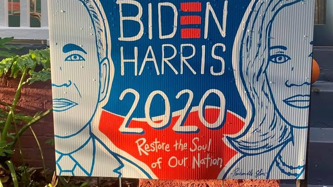 A Biden/Harris 2020 sign created by Savannah local artist PanHandle Slim