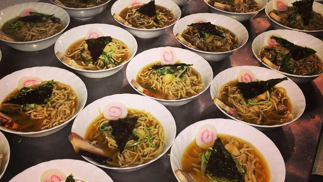 Bowls of Sam Auen's homemade ramen are lined up and ready to serve at a Tacopocalypse special event.