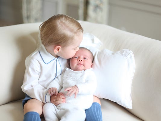 Prince George with Princess Charlotte