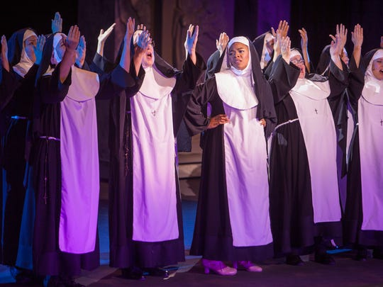 Performers at Tuacahn rehearse Sister Act Thursday,