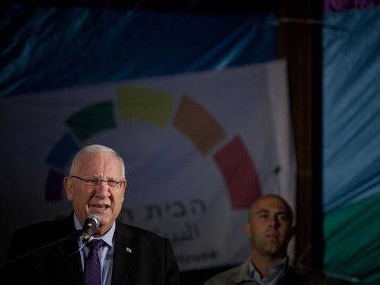 Israeli President Reuven Rivlin speaks during an anti-homophobia
