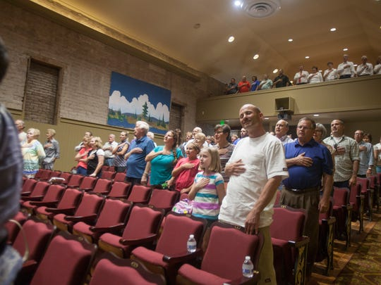 St. George citizens celebrate and commemorate the opening of the Electric Theater after months of renovations Friday, Aug. 28, 2015.