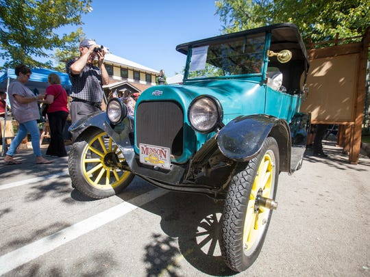 A vintage car is displayed at the 2015 Old Washington