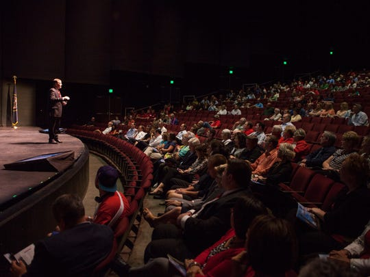 Dixie State President Richard Williams presents his strategic plan to students, faculty and members of the community at the Cox Auditorium Wednesday, Sept. 23, 2015.