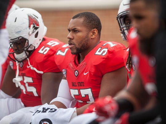 Joshua Posley (57) tore his pectoral muscle at the beginning of Ball State's pro day