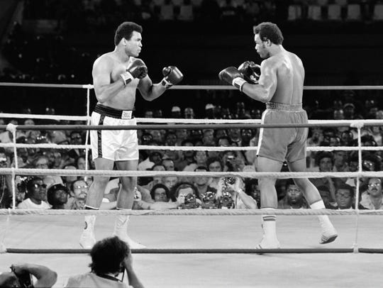 Muhammad Ali fights George Foreman in Kinshasa on Oct.