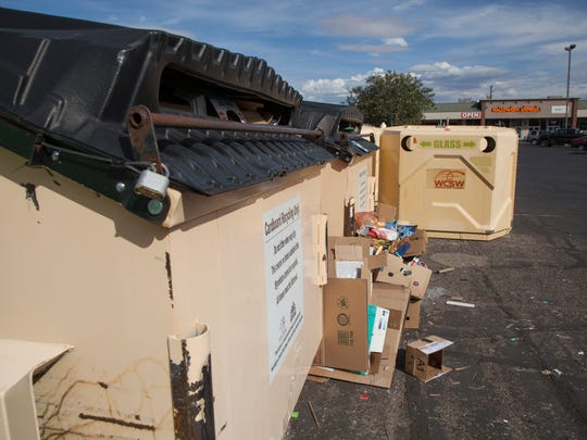 Recycling receptacles maintained by Washington County Solid Waste provided to the public near Ace Hardware Friday, Oct. 16, 2015. Residents can still use the binnies for glass as BluCan is not currently set up to accept this product.