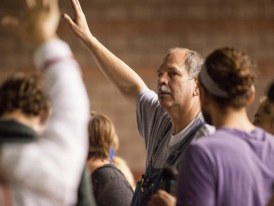 """Dixie High School Theater Director Russ Saxton coaches his cast during a rehearsal for their upcoming performance of """"Mary Poppins"""" on Thursday, Oct. 29, 2915."""