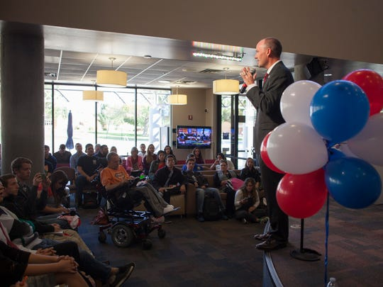 Lt. Gov. Spencer Cox addresses Dixie State students concerning the importance of political involvement Thursday, Nov. 5, 2015.