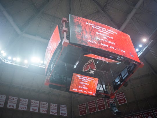 Ball State's new video scoreboards are the latest edition to Worthen Arena. They replaced the old video board that was in the corner of the stadium.