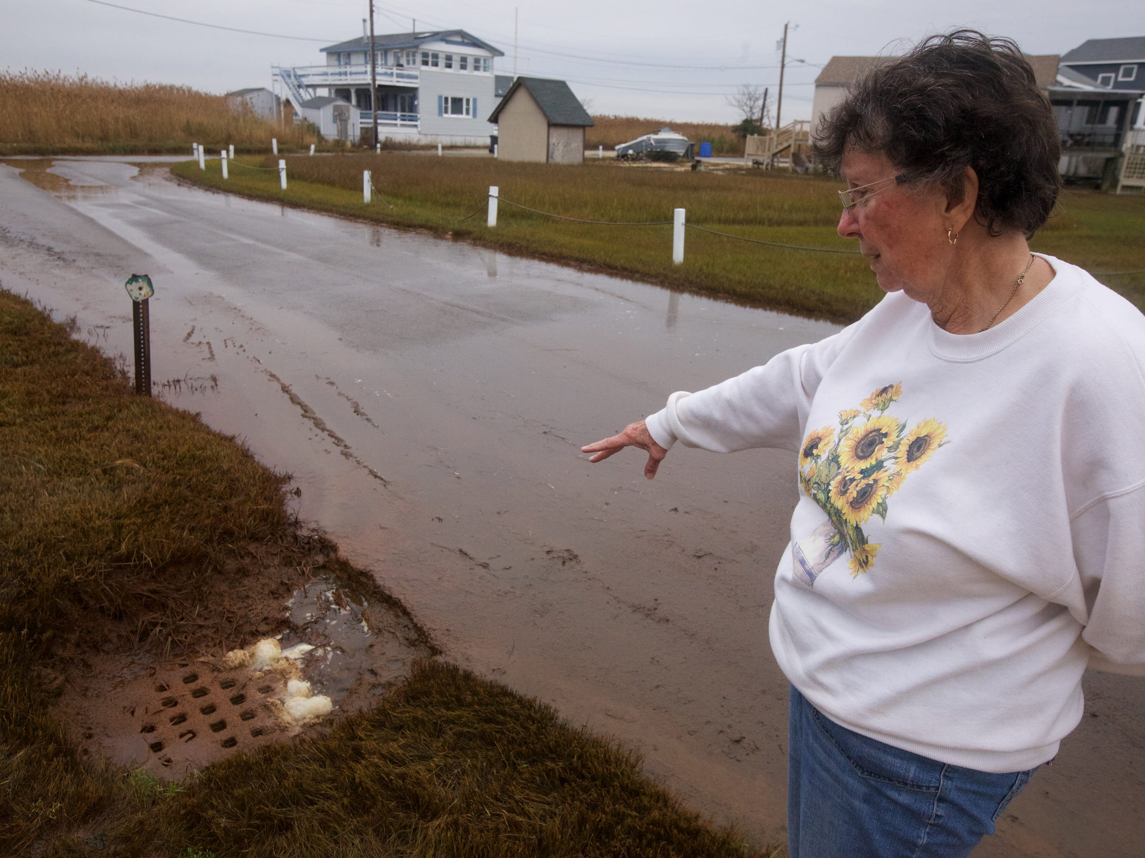Maryann O'Neill points out a storm drain in front of her home. Sometimes, the drain runs backward at high tide.