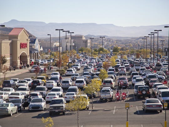 Cars tend to pack retail store parking lots on Black Friday.
