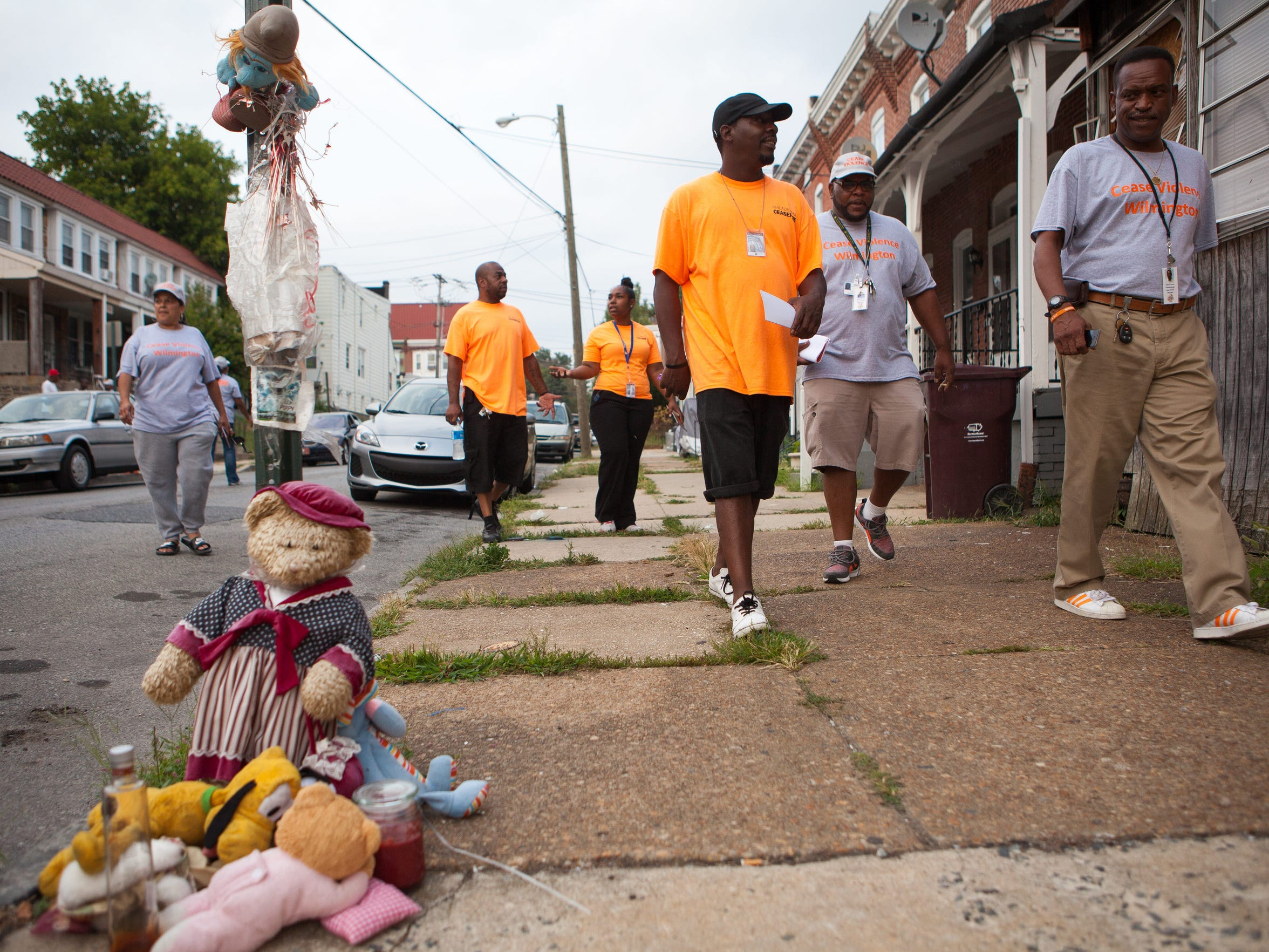 National trainers with Cease Violence visit Wilmington to help the local Cease Violence guys canvass the neighborhood.