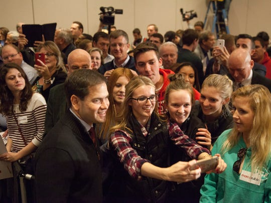 Presidential candidate Marco Rubio meets with supporters