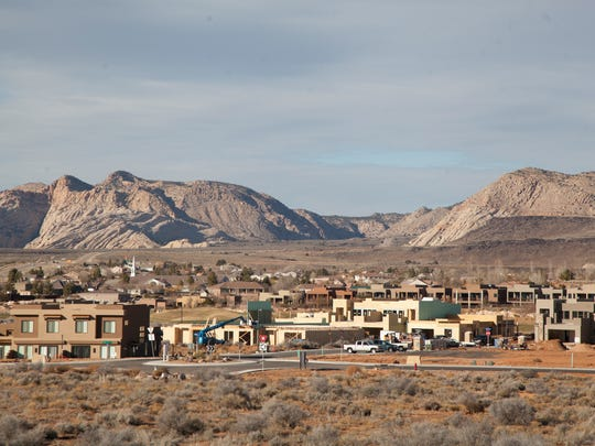 Construction on a series of new buildings continues in The Ledges near Winchester Hills Thursday, Dec. 17, 2015. Some of the new units were permitted as short-term resort-style rentals, part of a trend of such rental properties seen in southwest Utah over the past year.