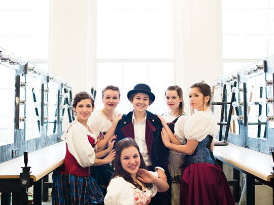 Abbey Kincheloe as the Chairman (center) surrounded by the Theatre Royale's chorus girls, pose for a portrait. Back Row: Nora Oeschlin, Rebekah Trumbo, Abbey Kincheloe, Nicole DiOrio and Grace Belcher. Front: Julia Bussey.