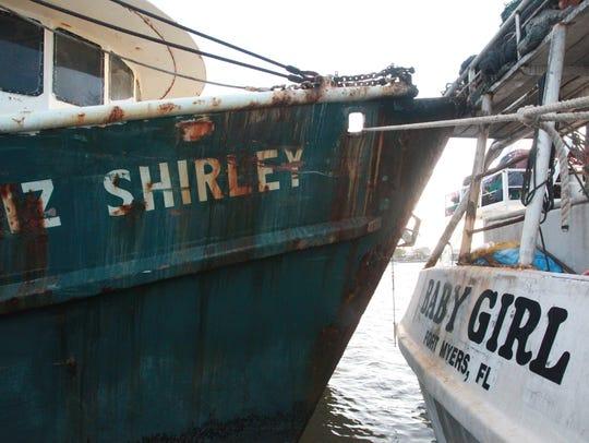 Shrimp boats line the wharf on San Carlos Island Saturday.