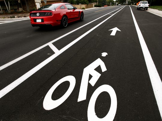 A buffered bike lane with a 3-foot section of striped